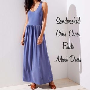 🆕 NWOT LOFT Sandwashed Blue Maxi Dress - Size XXL